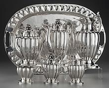 A SEVEN PIECE CASA PRIETO SILVER TEA AND COFFEE SERVICE