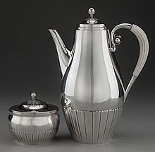 A GEORG JENSEN COSMOS PATTERN SILVER AND IVORY COFFEE P