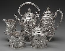 A FIVE PIECE SAMUEL KIRK & SON SILVER TEA AND COFFEE SE