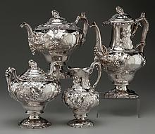 A FOUR PIECE TIFFANY & CO. COIN SILVER TEA AND COFFEE S