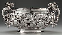 A JAPANESE EXPORT SILVER HANDLED PUNCH BOWL, Meiji peri