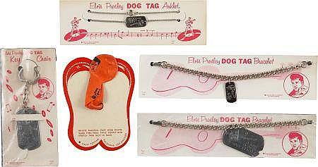 Elvis Presley Vintage Dog Tag Jewelry Group (1956).