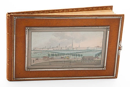 AN AUSTRIAN LEATHER ALBUM WITH TWO WATERCOLOR GOUACHES