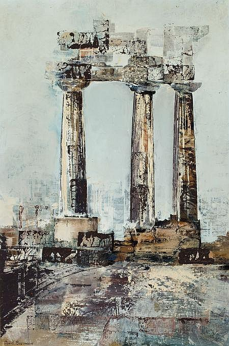 DAVID BROWNLOW (American, 1915-2006) Three Columns  Oil
