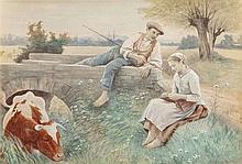 EDOUARD BERNARD DEBAT-PONSAN (French, 1847-1913) Courti