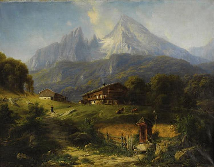 WILLIBALD WEX (German 1831-1899) An Alpine Farm ,