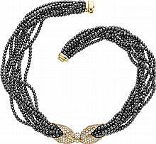 Diamond, Hematite, Gold Necklace, Natan