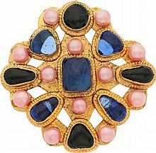 Chanel Pink Glass Pearl & Blue Gripoix Large Gold Brooc
