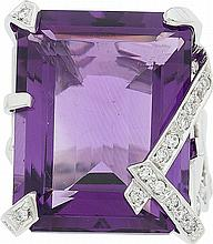 Chanel Diamond, Amethyst & 18k White Gold Ring Very Goo