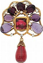 Chanel Gold, Purple & Red Gripoix Brooch  Very Good to
