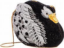 Judith Leiber Full Bead Black & Silver Crystal Swan Min