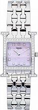 Hermes Diamond & Stainless Steel H Hour PM Watch Excell