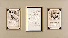 [Mark Twain]. Samuel Clemens Autograph Letter Signed