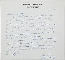 [John F. Kennedy]. Malcolm Perry Autograph Letter Signe