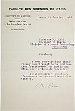Marie Curie Typed Letter Signed