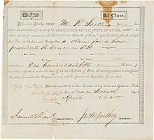 John M. Swisher Third Class Debt Certificate Signed