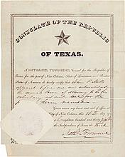 [Republic of Texas]. Nathaniel Townsend Document Signed