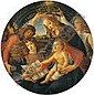 After SANDRO BOTTICELLI (Italian, 1444-1510) Madonna of the Magnificat, 19th Century Oil on canvas 50-1/4 inches (127.6 cm) diameter Signed verso: P. Fossi / copio This painting is a beautifully rendered copy of Botticelli's Madonna of the Magnificat, Sandro Botticelli, Click for value