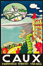 Caux, Switzerland Travel Poster (Lithos A. Marsens, Lau