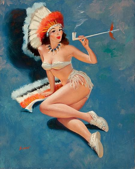 PETER DARRO (American, b. 1917) Indian Pin-Up Oil on ca