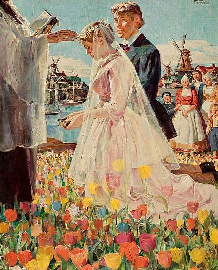 RICO TOMASO (American, 1898-1985) Wedding in Holland Oil on canvas 37 x 30 in. Signed upper right   From the Estate of Charles Martignette.