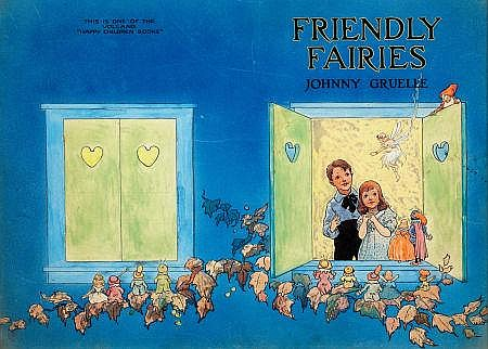 JOHNNY GRUELLE (American, 1880-1938) Friendly Fairies, book cover, 1919 Mixed media on paper laid on board 10 x 14 in. Not signed This is one of the Volland
