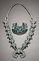 A ZUNI SQUASH BLOSSOM NECKLACE AND BRACELET c. 1965