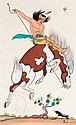 QUINCY TAHOMA (NAVAJO, 1920 - 1956) The Last Jump  c. 1