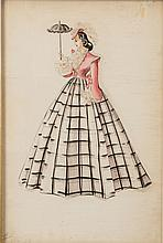 A Costume Design Sketch by Walter Plunkett Related to