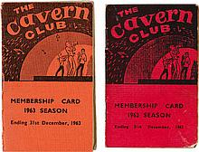 Cavern Club Membership Cards for 1962 and 1963.
