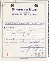 A Béla Lugosi 'Certified Copy' of His Death Certificate