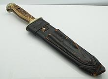 Puma Solingen German Military War Dagger Knife or Bayonet Bowie Knife with Stag Horn Handle and Leather Sheath
