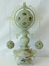 Chinese Jade Censor with Two Pendant Puzzle Balls & Center Reticulated Mystery Ball