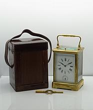 Rare Antique French Brass Carriage Clock with Fantastic Wood Carrying Case. Neat piece of Horse-drawn, pre 1900s history and VERY collectible. Comes with original Key
