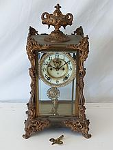 Ansonia Antique Tall Rhinestone Running Mantel Clock