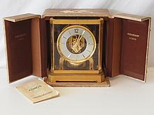 Vintage Jaeger LeCoultre Atmos Mantle Clock with Case and Original Manual