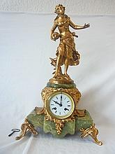 Louis Auguste Moreau Figural Gilt Dore French Statue Art Nouveau Signed La Rosee Du Matin on Green Onyx Base. Key included