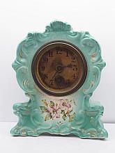 Antique Lily Gilt Ornate Porcelain Mantel Clock