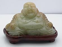 Old Chinese or Japanese Carved Jadeite Jade Maitreya Smiling Hotei Buddha Sculpture with Wooden Base  Old Chinese or Japanese Carved Jadeite Jade Maitreya Smiling Hotei Buddha Sculpture with Wooden Base