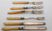100 Year Old Collection Ivory and Resin French Ivory Handled Sterling Silver and Silver Plate Knife and Fork Assortment. Mixed style for antique décor, repurposed or for replacements. Family ties to one of New Englands first governors
