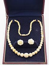 Carved Japanese Ivory Necklace and Screwback Earrings Rose Bloom Motif Set in Original Box 3 Piece Vintage Early 1900s. Carved Japanese Ivory Necklace and Screwback Earrings Rose Bloom Motif Set in Original Box 3 Piece Vintage Early 1900s.