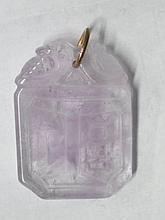 Excellent Carved Lavender Pale Ice Chinese Jadeite Jade or Quartz Signed Pendant Medallion Dolphin Motif. Archaic period appearance. We believe this piece to be at least 300 years old.