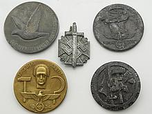 Nazi Germany SS Third Reich Group of 5 WWII Pins Medals Swastika Day of Labor Homing Pigeon Prize Medallions