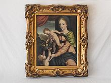 Madonna & Child with Infant St. John Northern Renaissance Rogier van der Weyden Flemish or Circle of Dieric Bouts Dutch with Old Italian Francia 16C Attribution Oil Painting