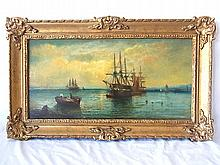 Royal Hibernian Academy artist William Alexander signed Marine Harbor Seascape Oil Painting Accompanied by Henri Tiercet Galleries Provenance