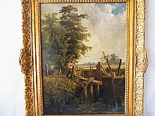 Signed J. Constable 1837 Deham Lock Oil Painting Accompanied by Henri Tiercet Galleries Provenance