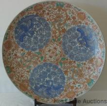 Antique Huge Imari 1800s Porcelain Charger Platter Phoenix Dragon Motif