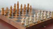 Massive Carved Ivory Complete Chess Set Asian with Large Wood Folding Fold Out Board Case