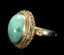An Old Style Jadeite Ring with Open Top