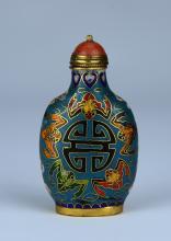A Cloisonne Snuff Bottle in Happy Pattern